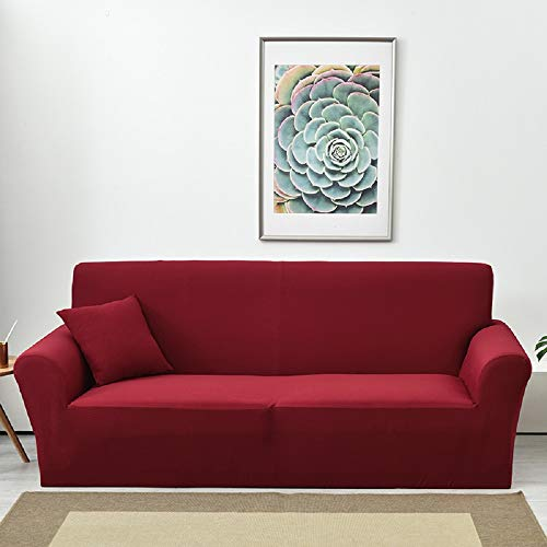 Lanqinglv - Funda elástica para sofá Impermeable de 1/2/3/4 plazas, Funda de sofá Monocolor, Funda para sillón, Antideslizante, Lavable, poliéster, Rojo, XL(4-sitzer:245-300)