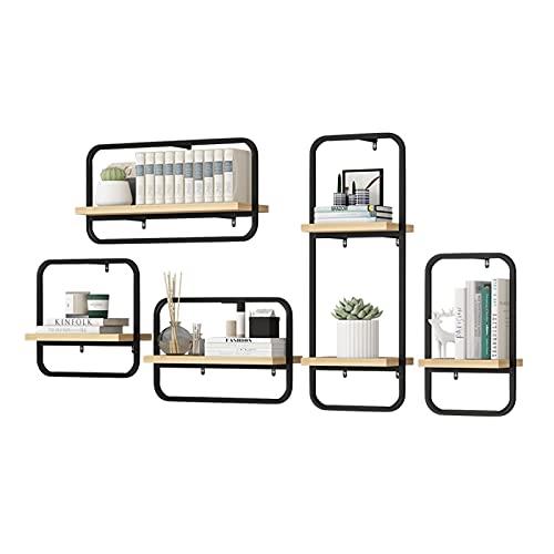 Estanteria Cubo Conjunto de 5 estantes de libros de estilo industrial Estantes flotantes Montado en la pared Montado en la pared Estante de exhibición de la pared Detalle de la decoración del hogar, m
