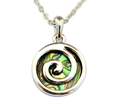 Paua/Conchiglia di abalone metallo spirale 'Koru' Collana ciondolo catena in Nuova Zelanda