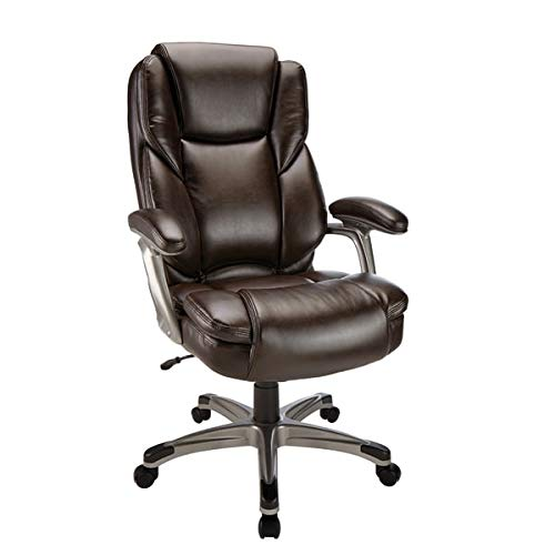 Realspace Cressfield Bonded Leather High-Back Chair, Brown/Silver