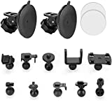 Dash Cam Suction Cup Mount Compatible with Crosstour, APEMAN, YI 2.7', Z-Edge Z3 3' and Most Other Dash Cam with 16 Different Points, 3 x Glue Double Sided Adhesive Tapes, 3 Wipes(Dry and Wet)