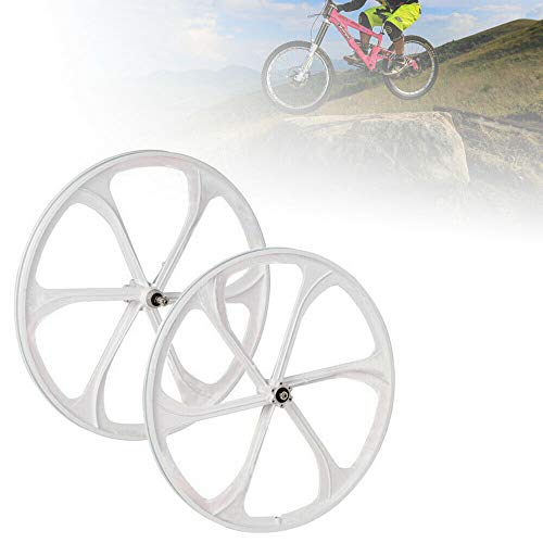 "26"" MTB Bike Mag Wheel Set Front&Rear Bicycle Bike Wheel Set 6-Spoke Rims Disc Brake Set 8/9/10 Speed Gear (White)"
