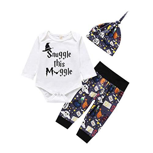 MOLYHUA Babykleidung Set Weihnachten Bodysuit Langarm Body Strampler + Hose Weihnachtsoutfit mit Hut 0-6 6-9 9-12 12-18 Monate