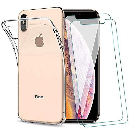 KEEPXYZ Funda para iPhone X iPhone XS + 2 Pcs Protector de Pantalla para iPhone XS X Cristal Templado, Flexible Silicona Transparente TPU Antigolpes Carcasa + Vidrio Templado para iPhone X, iPhone XS