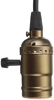 Casquillo Edison de latón envejecido, casquillo E27, compatible con bombillas de rosca Bare con cable e interruptor [clase energética A+]