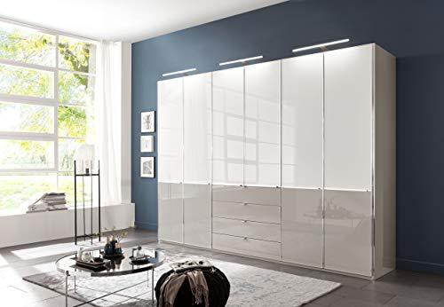 Preisvergleich Produktbild WIEMANN Shanghai 2 Kleiderschrank,  Schlafzimmerschrank,  Drehtürenschrank,  mit Schubladen,  Breite 300 cm,  6 türig,  Kieselgrau,  Glas weiß,  grau,  Holz,  B / H / T 300x216x58 cm