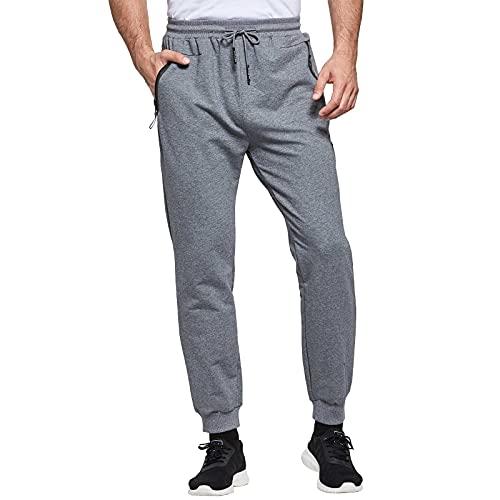JustSun Jogginghose Herren Sporthose Trainingshose Herren Lang Baumwolle Fitness Hosen mit Reissverschluss Taschen Grau L
