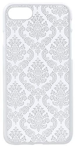 monjour Funda protectora para iPhone 7 Plus, color plateado, diseño de henna y flores [plástico duro] – Slim Hard Cover Case Mandala Damasco punta