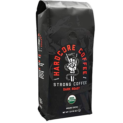 Hardcore Ground Coffee, High Caffeine, strong roast 1 lb.
