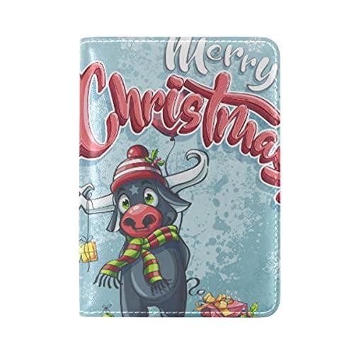 Cartel De Feliz Navidad Toro Piel Genuina Pasaporte Titular Portada Funda de...