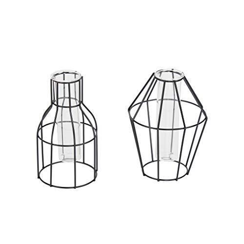 Flanacom Designer Deko-Vase 2er Set Geometrisch - Moderne Tisch-Deko für zu-Hause - Zeitloses & minimalistisches Design - Dekoration Wohnung Modern - Reagenzglas-Vase aus Metall - Schwarz