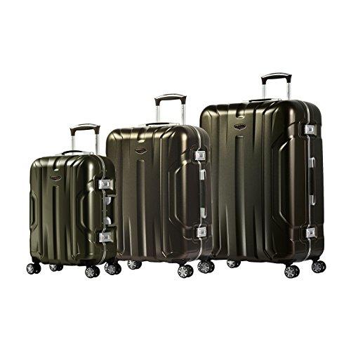 Eminent Gold Set di valigie X-Dream 3pcs Valigie rigide 4 Ruote doppie silenziose Telaio in alluminio Maniglia telescopica regolabile e Doppio lucchetto TSA Marrone