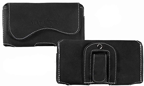 MATADOR Lederhülle Ledertasche Gürtelclip/Schlaufe Handytasche Gürteltasche kompatibel mit iPhone 5 5S 5C SE Schwarz
