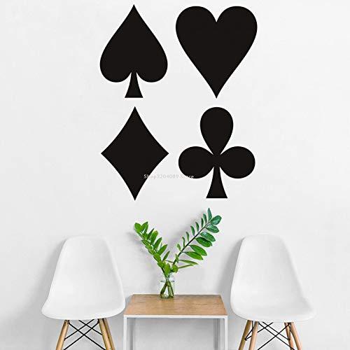 JXAA Club Heart Diamond Kartenspiel Wandaufkleber Abnehmbarer Schachraum Aufkleber Home Decor Glücksspiel Pokerraum Vinyl Wandbild Wallpaper 57x72cm