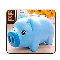 コインマネーボックスキッズギフト節約現金ポータブル3カラー家の装飾かわいい漫画動物プラスチック貯金銀行子供用保管 (Color : Blue)