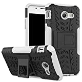 Smfu Funda Compatible ASUS Zenfone 3 MAX ZC520TL 5.2 Carcasa Rugged Híbrido Resistente Absorción Anti-arañazos Funda Absorción Impactos con Pie De Apoyo Caja [con Mica 2Unidades]-Blanco
