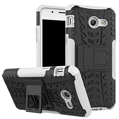 Smfu Cover Compatibile Moto G4/G4 Plus Custodia+Pellicola Protettiva in Vetro Temperato 2 Pezzi 360 Gradi Protettiva Bumper Staffa Custodia in Silicone Misto Doppio Cover Case-Bianca