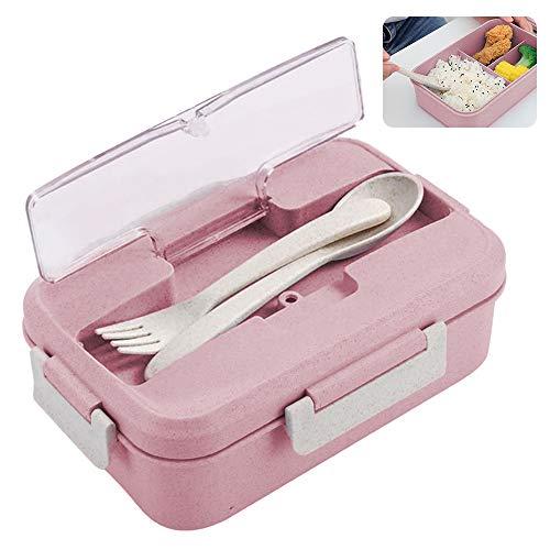 Caja de Bento, ZoneYan Lunch Box Infantil, Fiambreras con 3 Compartimentos, Cuchara Tenedor Lonchera, Fiambreras Caja de Almuerzo Ideal para Microondas (Rosado)
