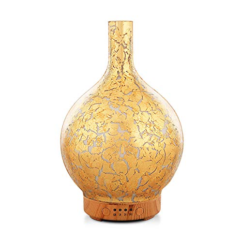 Porseme Gold Plated Essential Oil Diffuser Glass Aromatherapy Ultrasonic Humidifier, Auto Shut-Off,Timer Setting, BPA Free,Aroma Decoration for Home,Office,Gym,Spa,Premium Gift 100ml