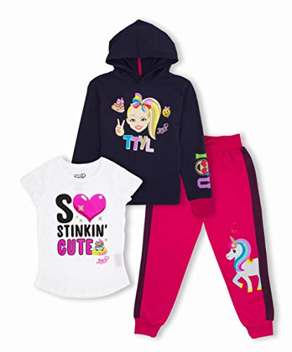 JoJo Siwa Unicorn Graphic Hoodie, Top and Legging, 3-Piece Outfit Set (L 10/12, Navy/White/Hot Pink)