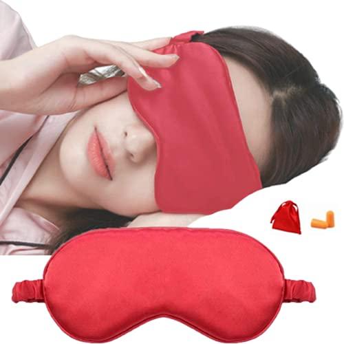 Máscara para dormir y venda para los ojos, máscara para los ojos súper suave para dormir, con correa ajustable, adecuada para viajes, siestas, sueño nocturno (rojo)