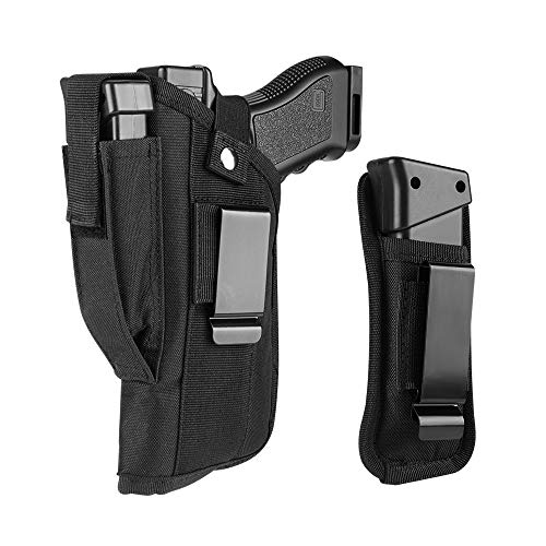 GVN Universal Right or Left OWB Gun Laser Holster with Mag Holster Pouch for Smith & Wesson M&P Sigma 9mm 40 V Side Holster Glock 17,19,22,31,33,23,32,25,38. Beretta Storm Px4, Type F:9mm.40