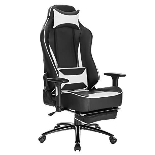 WOLTU BS75ws Gaming Stuhl Racing Stuhl Bürostuhl ergonomischer Schreibtischstuhl mit Kopfkissen und Lendenkissen mit Wippfunktion mit hoher Rückenlehne höhenverstellbar PC Stuhl Kunstleder Weiß