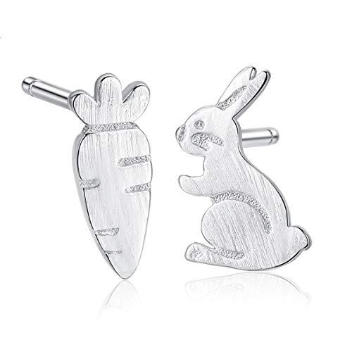 925 Sterling Silber Ohrringe Damen Mädchen Ohrstecker,Hase Karotte Cartoon Koreanische Version Kreative Mode Einfache Niedliche Lustige Exquisite Anti-Allergie-Weihnachtsgeschenk