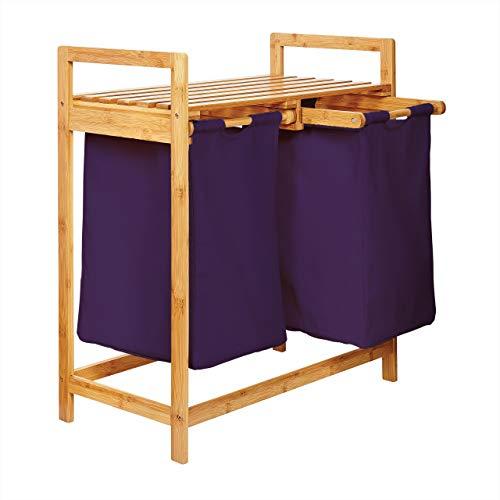 Lumaland cesto para Ropa en bambú, con 2 compartimientos extraibles, ca. 73 x 64 x 33 cm