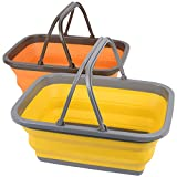 Magesh Collapsible Sink 2 Pack - Outdoor Camping Picnic Basket Each 11L/2.90Gal Wash Basin, Portable Foldable Tub/Basin/Bucket with Sturdy Handle for Washing Dishes, Camping, (Yellow and Orange)