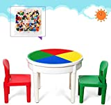 GYMAX Kids Activity Table and 2 Chairs Set with 300pcs Building Blocks, Multi-Purpose Children Play Table Set for Writing, Construction, Storage, Water and Sand Play