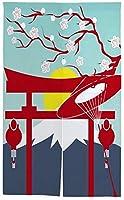 TINZZEROS のれん おしゃれ 富士山日ゲート桜 麻混素材 プリント お部屋の模様替え 開運のれん 和室も 和室 装飾的な 取り付け簡単 半遮光 突っ張り棒付き 幅70㎝×丈120㎝
