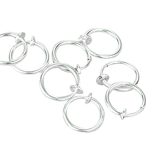 Amesii - Anelli a clip color argento, finti piercing, per naso, labbra e orecchie, stile punk (8 pezzi)