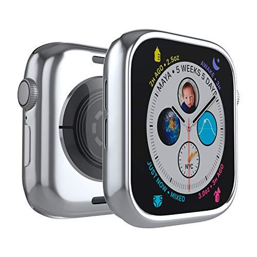 Coque de Protection en Silicone TPU résistant aux Chocs pour Apple Watch Series 4 42 mm Argenté