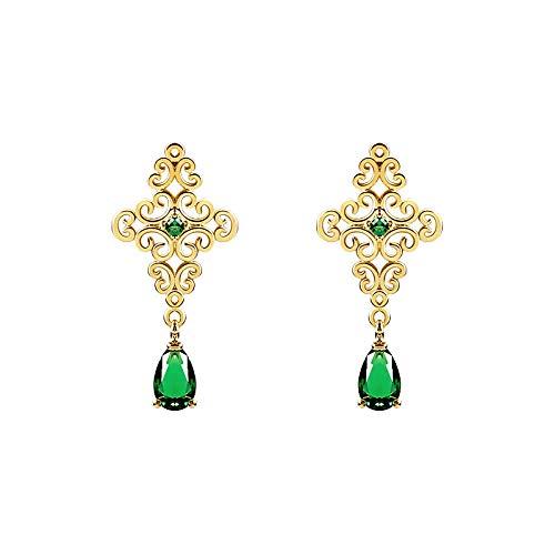 Pendientes de cristal de esmeralda para mujer, orejas 925, gotas de agua barroca vintage verde, regalo de pendientes de la madre
