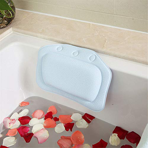 YALIXI Bath Pillow Cushion,Blue Bathroom Pillows with Suction Cups,Breathable Foam Sponge Bathtub Pillows,Head Neck Shoulders And Back Support,Suitable for Hot Tubs, Jacuzzis, Spas