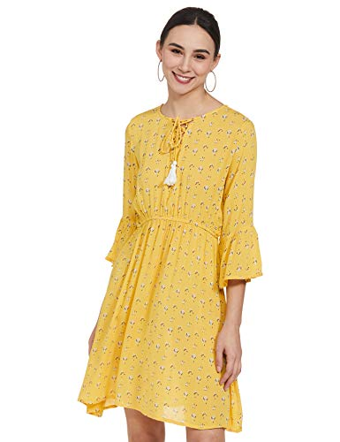 EASYBUY Rayon Fit and Flare Casual Dress (SU21SR10LW_Mustard_M)