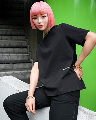 The Drop Camiseta para Mujer, con Abertura Lateral y Estampado Gráfico Negro, por @imma.gram