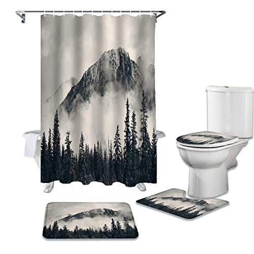 CKKHYCD 4-teiliges Duschvorhangset Bergwald Rauch wasserdichter Duschvorhang Toilettendeckelabdeckung Konturmatte Badezimmer Rutschfester Teppich