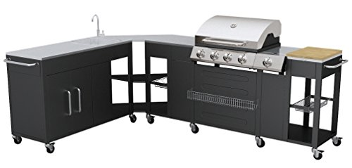 VidaXL 40428 Gas Barbecue – Barbecues & Grills (Cooking Station, Black, Stainless Steel, Rectangular, Stainless Steel)