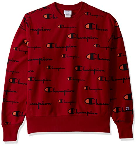 Champion LIFE Men's Reverse Weave Crew-Print Sweater, Multi Scale Script Cherry Pie, X Large