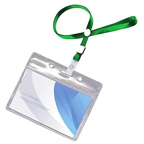 sac taske 名札ホルダー 防水 名札 ケース 首掛け ネック ストラップ 名刺 ID カード (100個セット グリーン)