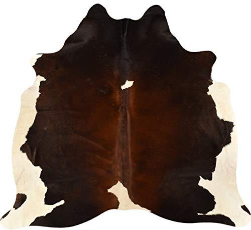 generisch KUHFELLE Online 13655 - Alfombra (Piel de Cal, 170 x 195 cm), Color marrón y Blanco