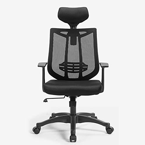 ピアス Silla de oficina ergonómica, silla de malla con reposabrazos y reposacabezas ajustable, silla de oficina de respaldo alto con estructura de malla transpirable y soporte lumbar