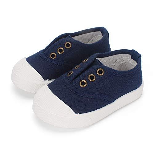 LACOFIA Scarpe di Tela Scuola per Bambini Sneakers Casual per Bambino Mocassini Unisex Bimbo Blu Marino 24