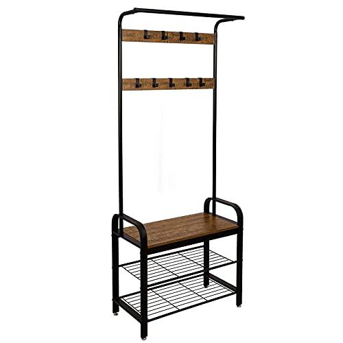Meerveil Garderobenständer Vintage, Garderobe Industrial, Schuhregal mit Sitzfläche, Metallgestell Kleiderständer mit 9 abnehmbaren Haken, 2 Gitterablagen, 72 x 34 x 183 cm, Retrobraun-schwarz