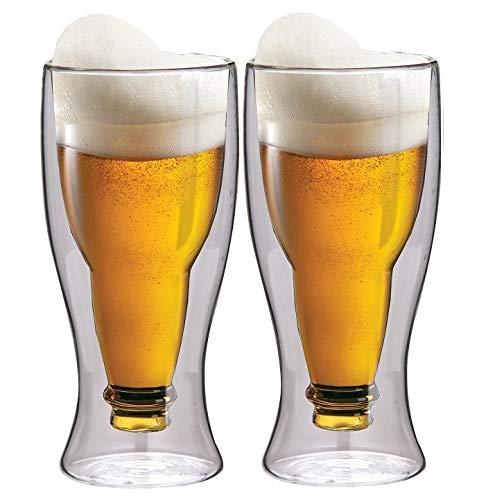Maxxo Doppelwandige Gläser Bier Set 2X 500 ml Thermogläser mit Schwebe-Effekt Biergläser Trinkgläser Bierglas