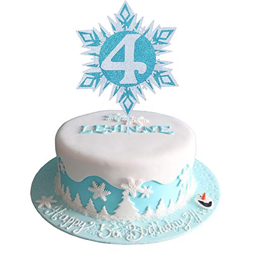 Glittery Frozen Cake Toppers 4, Frozen Cake Topper 4th Birthday, Snowflake Cake Topper, Winter Wonderland Snow Princess Happy Birthday Cake Topper for Girls Kids Frozen 4th Birthday Party Decorations