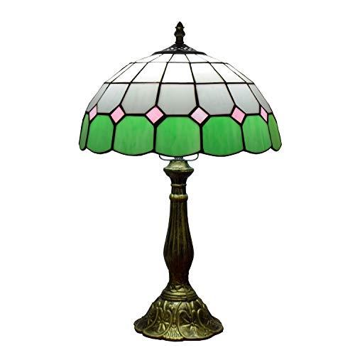 Lámpara de mesita de noche decorativa retra 12 pulgadas del vitral de Tiffany lámpara de mesa moderna europea mediterránea...