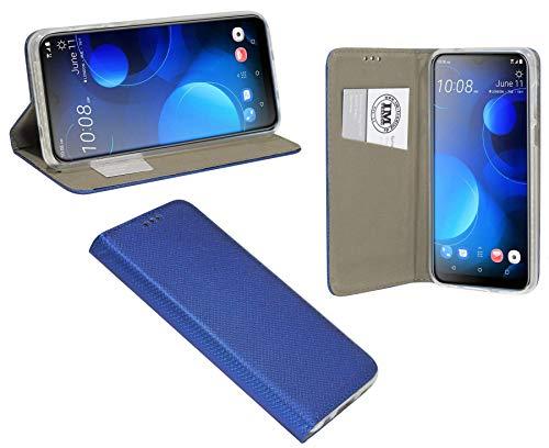 cofi1453® Buch Tasche Smart kompatibel mit HTC Desire 19+ Plus Handy Hülle Etui Brieftasche Schutzhülle mit Standfunktion, Kartenfach Blau